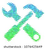 halftone dot hammer and wrench... | Shutterstock .eps vector #1076425649