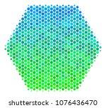 halftone dot filled hexagon...