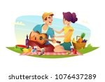 happy couple of lovers has a... | Shutterstock .eps vector #1076437289
