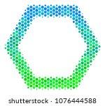 halftone dot contour hexagon... | Shutterstock .eps vector #1076444588