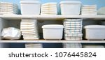diapers and container boxes on... | Shutterstock . vector #1076445824