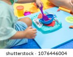 cute little girl having fun...   Shutterstock . vector #1076446004