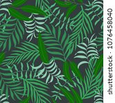 tropical background with palm... | Shutterstock .eps vector #1076458040