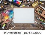 set of artist accessories... | Shutterstock . vector #1076462000