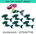 cute little mermaid. find the ...   Shutterstock .eps vector #1076467748