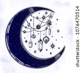 crescent boho moon with... | Shutterstock .eps vector #1076470514
