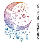 ornate crescent boho moon with... | Shutterstock .eps vector #1076470523