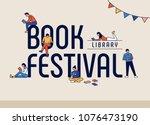 book festival concept poster.... | Shutterstock .eps vector #1076473190