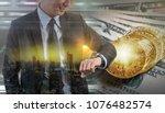 double exposure of businessman... | Shutterstock . vector #1076482574