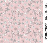 seamless pattern with flowers ... | Shutterstock .eps vector #1076483438
