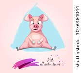funny  cute  crazy cartoon... | Shutterstock .eps vector #1076484044