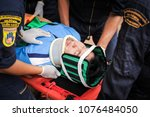 first aid training to transfer...   Shutterstock . vector #1076484050