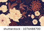Stock vector peonies and roses floral vintage seamless pattern gold and white flowers leaves branches and 1076488700