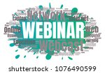 webinar or webcast word cloud.... | Shutterstock .eps vector #1076490599