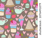 set of hand drawn sweets vector ... | Shutterstock .eps vector #1076491079