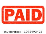 paid red rubber stamp on white...   Shutterstock . vector #1076493428