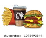 burger  hot dog and cofee in... | Shutterstock .eps vector #1076493944