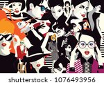 collage of fashionable girls in ... | Shutterstock .eps vector #1076493956