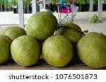 a stack of jackfruit in... | Shutterstock . vector #1076501873