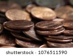 close up of us one cent coins... | Shutterstock . vector #1076511590