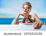 woman in a swimsuit with a... | Shutterstock . vector #1076513150