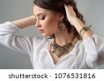 beautiful girl with set jewelry.... | Shutterstock . vector #1076531816
