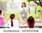 playful little girls are... | Shutterstock . vector #1076532968