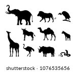 collection of black silhouettes ... | Shutterstock . vector #1076535656