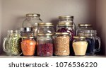 collection of grain products in ... | Shutterstock . vector #1076536220