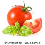 isolated tomato with leaf of... | Shutterstock . vector #107653916
