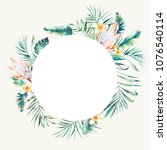 round tropical plants label.... | Shutterstock . vector #1076540114