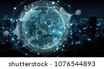 globe network hologram with... | Shutterstock . vector #1076544893