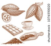 a set of cocoa products  cocoa... | Shutterstock .eps vector #1076550020