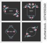 set of cards with floral frames.... | Shutterstock .eps vector #1076550260