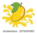 vector yellow mango and juice...   Shutterstock .eps vector #1076554583