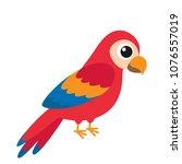 cute cartoon parrot on white... | Shutterstock .eps vector #1076557019