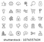 thin line icon set   cart... | Shutterstock .eps vector #1076557634