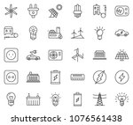 thin line icon set   bulb... | Shutterstock .eps vector #1076561438
