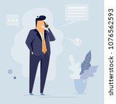 businessman talking on phone ... | Shutterstock .eps vector #1076562593