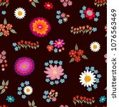 colorful floral carpet.... | Shutterstock .eps vector #1076563469