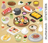 japanese food vector eat sushi... | Shutterstock .eps vector #1076571806
