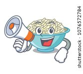 with megaphone rice bowl... | Shutterstock .eps vector #1076572784