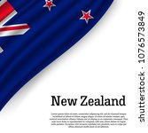 waving flag of new zealand on... | Shutterstock .eps vector #1076573849