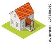 small house isometric view ...   Shutterstock .eps vector #1076586080