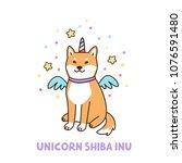 kawaii dog of shiba inu breed...   Shutterstock .eps vector #1076591480