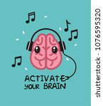 icon pink brain with eyes. the... | Shutterstock .eps vector #1076595320