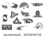 road vector icons set. symbols... | Shutterstock .eps vector #1076596733