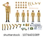 soldier in military clothing...   Shutterstock .eps vector #1076601089