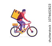 courier bicycle delivery man... | Shutterstock .eps vector #1076602823