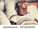 girl sleeping with sickness on...   Shutterstock . vector #1076606339